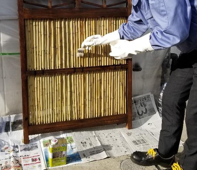 竹ガードの塗り方